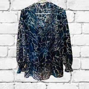 FASHION BUG | SZXL NAVY BLUE LEOPARD PRINT BLOUSE